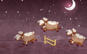 Picture night, mood, the moon, the fence, sleep, vector, stars, art, picture, children's, sheep