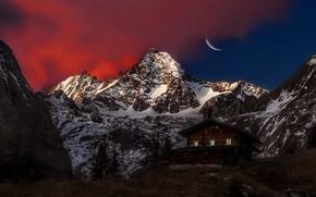 Wallpaper Moon, Sky, Mountain, Austria, View, Peak