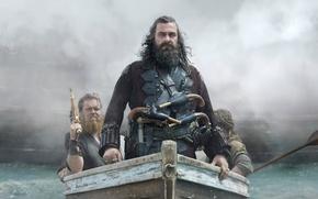 Picture boat, guns, pirates, Ray Stevenson, Blackbeard, black sails, Black sails