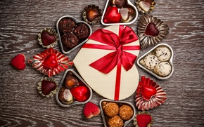 Wallpaper valentine`s day, love, sweet, romantic, gift, chocolate, hearts, candy