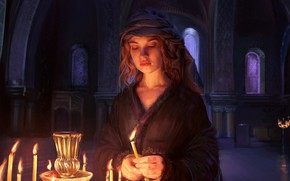 Picture fire, candles, art, the series, Palace, Lily James, Lily James, War and peace, War & …