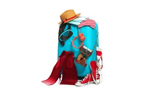 Picture stay, clothing, sneakers, hat, headphones, white background, suitcase, fins