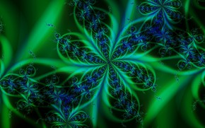Picture color, black background, green pattern