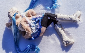 Wallpaper doll, snow, mood, toy