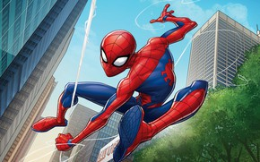 Picture The city, Web, Costume, Building, City, Hero, Mask, Superhero, Hero, Web, Marvel, Spider-man, Patrick Brown, …
