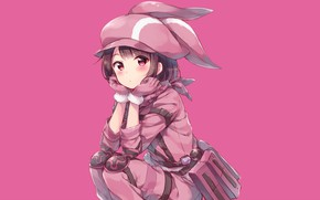 Picture Girl, Sitting, Pink background, Sword Art Online Alternative: Gun Gale Online