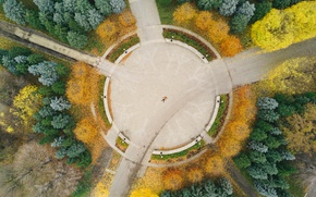 Picture autumn, trees, Park, people, lies, the view from the top, from the height, from the …