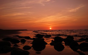 Picture sea, sunset, shore, the evening