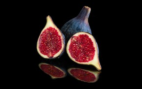 Picture reflection, fruit, black background, figs, figs, the ripe fruit, the Fig tree