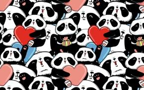 Wallpaper hearts, bears, Panda