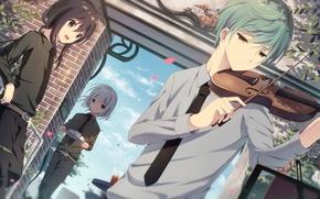 Picture sadness, violin, anime, art, guy, Touken Ranbu