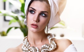 Picture decoration, background, portrait, towel, necklace, makeup, brunette, hairstyle, beauty, in white, Bathrobe, bokeh