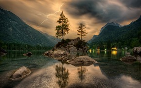 Wallpaper mountains, lightning, trees, rock