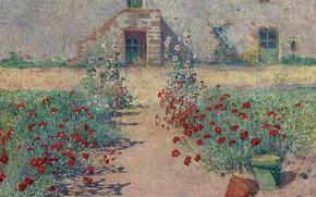 Picture landscape, flowers, picture, Ferdinand du Puigaudeau, Ferdinand du Plegado, Carnations Alley at Kervaudu