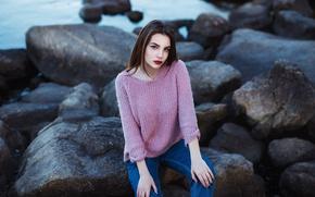 Picture stones, jeans, makeup, sponge, sweater, Valeria