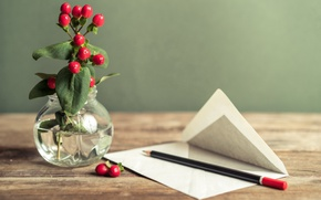 Wallpaper vase, letter, pencil, flowers