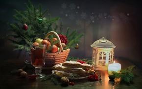 Wallpaper winter, happiness, tea, tree, new year, Christmas, candle, still life, tangerines, January, lemon pie