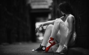 Picture girl, mood, sneakers, ballerina, monochrome, Pointe shoes, Jaime Chantelle