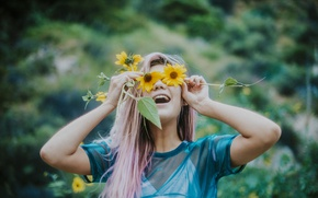 Picture girl, flowers, petals