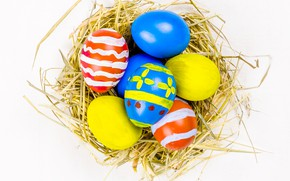 Picture holiday, eggs, Easter, socket, straw, garland, flags, Easter, eggs