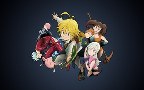 Picture anime, art, black background, characters, Nanatsu no Taizai, The seven deadly sins