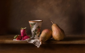Picture strawberry, Cup, still life, pear