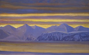 Picture landscape, mountains, nature, picture, Rockwell Kent, Rockwell Kent, Bay, On The Resurrection. Alaska