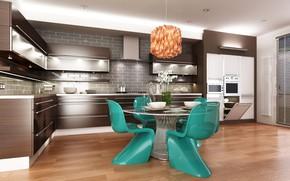 Picture furniture, chairs, interior, kitchen, fruit, fruit, lamps, lamps, chairs, kitchen, furniture