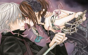 Picture girl, anime, vampire, guy, vampire knight, magical girl, Vampire knight, Yuki Kuran