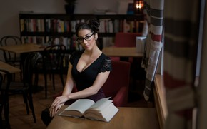Picture look, sexy, model, portrait, makeup, brunette, glasses, hairstyle, book, library, beauty, sitting, in black, bokeh, …