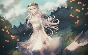 Picture girl, flowers, anime, girl