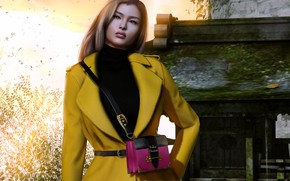 Picture girl, face, style, background, hair, handbag, coat
