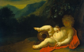 Picture tree, oil, picture, mythology, The Young Bacchus, Peter van der Werff