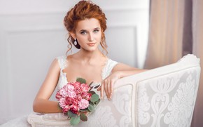 Picture flowers, pose, bouquet, chair, makeup, dress, hairstyle, beauty, sitting, redhead, in white, bokeh