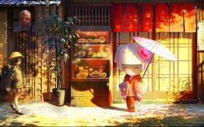 Picture doll, umbrella, bamboo, petals, Japan, schoolgirl, the sidewalk, Panama, shop, satchel, Souvenirs