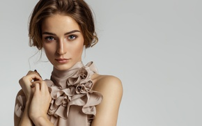 Picture look, girl, model, hands, makeup, hairstyle, shoulders, fashion