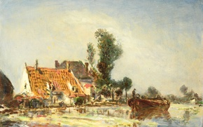 Picture landscape, oil, picture, Ian Bartold Jongkind, House on Canal near Crevace