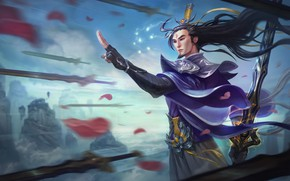 Wallpaper League of Legends, Artwork, Swords, League Of Legends, LoL, Splash, Master Yi, Petals, Eternal Sowrd, ...
