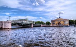 Picture the sky, bridge, river, rivers, bridges, St. Petersburg, St Peterburg