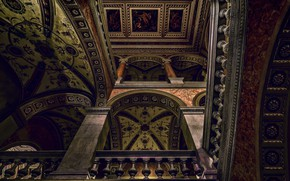 Picture the ceiling, arch, Opera, painting, column, Budapest, The Hungarian Opera house