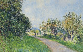 Picture landscape, picture, Alfred Sisley, Alfred Sisley, The road near Sevres
