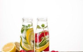 Picture berries, lemon, drink, fruit, mint, lemonade