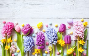 Picture flowers, holiday, Easter, tulips, wood, yellow, flowers, daffodils, decor, Easter, eggs, candy, hyacinths, narcissus