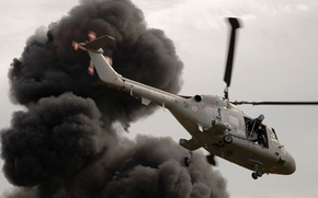 Picture smoke, helicopter, Westland Lynx, Royal Navy, military transport helicopter