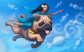 Picture the sky, girl, clouds, sleep, dog, pug, art
