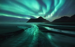 Wallpaper beach, the sky, Northern lights, stars, mountains, night, sea