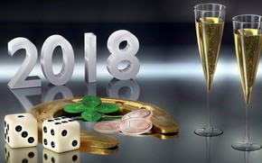 Picture glasses, New year, coins, 2018, horseshoe