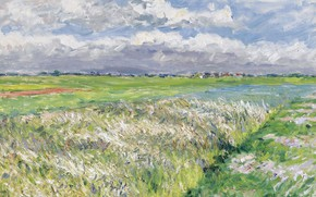 Picture landscape, nature, picture, Gustave Caillebotte, The Plain Of Gennevilliers. Etude in Yellow and Green, Gustave …