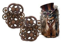 Picture cat, mechanism, minimalism, hat, art, glasses, steampunk, children's, Steampunk