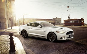 Wallpaper Ford, Mustang, city, Sportcar, White, Car